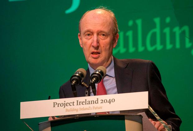 Minister for Transport, Tourism and Sport Shane Ross speaking at the Cabinet meeting and launch of Project Ireland 2040 at IT Sligo. Photo: James Connolly