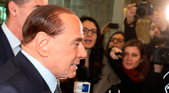 Silvio Berlusconi goes on the stump yesterday in Rome. Photo: Matteo Bazzi