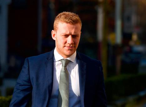 Ulster and Ireland rugby player Stuart Olding arrives at Laganside Magistrates court Picture: Pacemaker