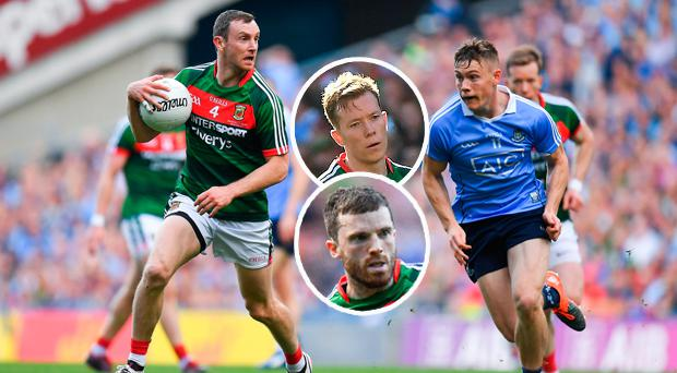 Keith Higgins of Mayo in action against Con O'Callaghan and (inset) Donal Vaughan and Chris Barrett
