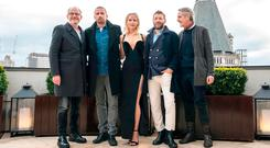 (L-R) Francis Lawrence, Matthias Schoenaerts, Jennifer Lawrence, Joel Edgerton and Jeremy Irons during the 'Red Sparrow' photocall at The Corinthia Hotel on February 20, 2018 in London, England. (Photo by John Phillips/John Phillips/Getty Images)