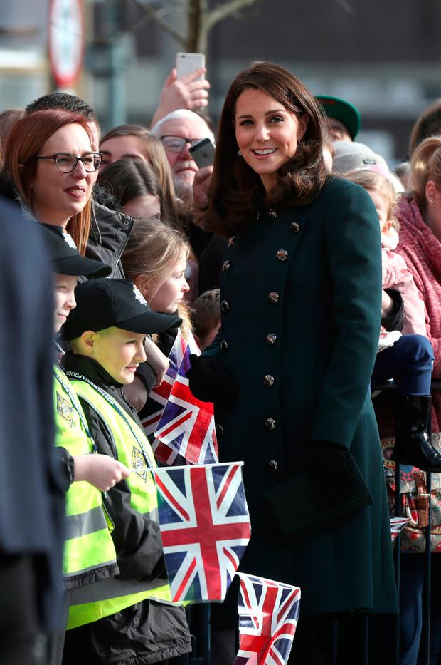 Britain's Catherine Duchess of Cambridge meets members of the public during a visit to The Fire Station in Sunderland, Britain, February 21,2018. REUTERS/Scott Heppell