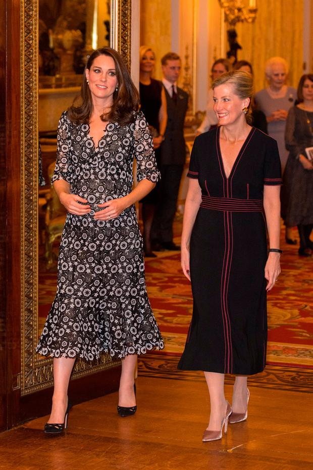 Britain's Catherine, Duchess of Cambridge and Sophie, Countess of Wessex, host a reception to celebrate the Commonwealth Fashion Exchange at Buckingham Palace in London, Britain February 19, 2018. REUTERS/Dominic Lipinski/Pool
