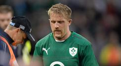 Luke Fitzgerald looks dejected after the 2013 defeat to the All Blacks