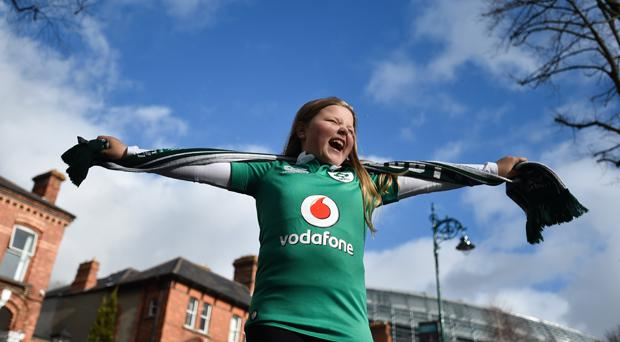 Ireland supporter Kate Ryan, age 9, from Westport, Co Mayo prior to the Six Nations Rugby Championship match between Ireland and Italy at the Aviva Stadium in Dublin. Photo by David Fitzgerald/Sportsfile