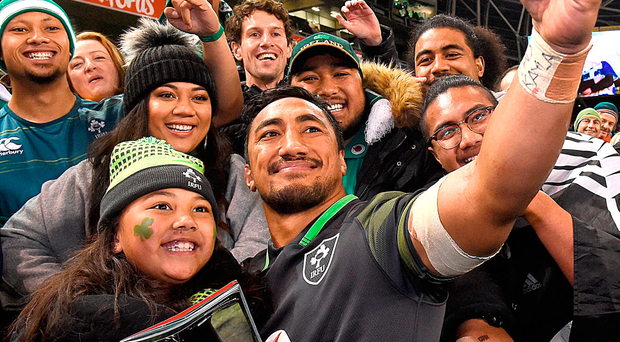 Bundee Aki with his daughter Adrianna after his Ireland debut against South Africa last November Photo: Matt Browne/Sportsfile