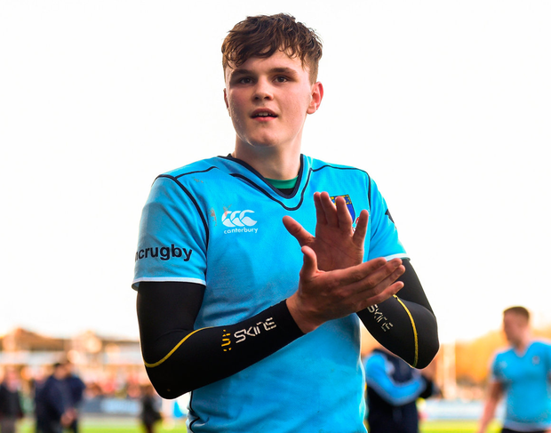 David Ryan of St Michael's College applauds the support following his side's victory Photo: David Fitzgerald/Sportsfile