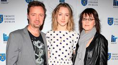 Saoirse Ronan with her parents, Paul and Monica. Photo: Brian McEvoy