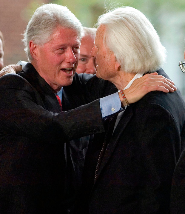 Graham with with former US president Bill Clinton Photo: Davis Turner/Getty Images