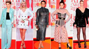 (L to R) Emma Willis, Holly Willougby, Louise Redknapp, Anne Friel and Rosie Huntington-Whiteley at the BRIT Awards