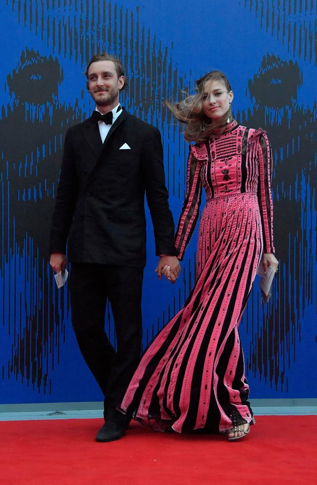 Pierre Casiraghi, son of Princess Caroline of Hanover, and his wife Beatrice Borromeo attend the