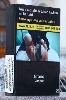 All cigarette boxes will be in the same plain neutral colour, with health warnings printed on the package.
