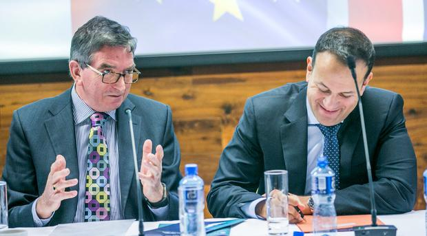 Niall FitzGerald, Patron of the British Irish Chamber of Commerce, with Taoiseach Leo Varadkar at the INM-organised Brexit Breakfast event in Trinity College. Photo: Kyran O'Brien