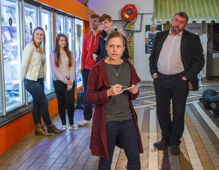 Julie Ryan (front) on location at the English Market, Cork for The Young Offenders movie