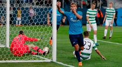 Zenit's Aleksandr Kokorin celebrates scoring his side's third goal during the Europa League round of 32 second leg soccer match between Zenit St. Petersburg and Celtic at the Saint Petersburg stadium, in St. Petersburg, Russia, Thursday, Feb. 22, 2018. (AP Photo/Pavel Golovkin)