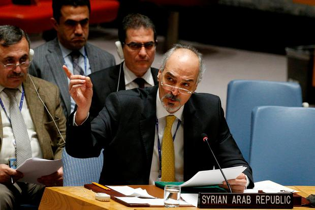 Syrian Arab Republic Ambassador to the U.N. Bashar Jaafari speaks during a UN Security Council meeting on Syria at the United Nations headquarters in New York, U.S., February 22, 2018. REUTERS/Brendan McDermid