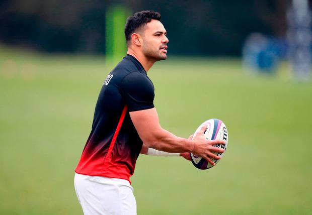 England's Nathan Hughes during a training session. Photo: PA