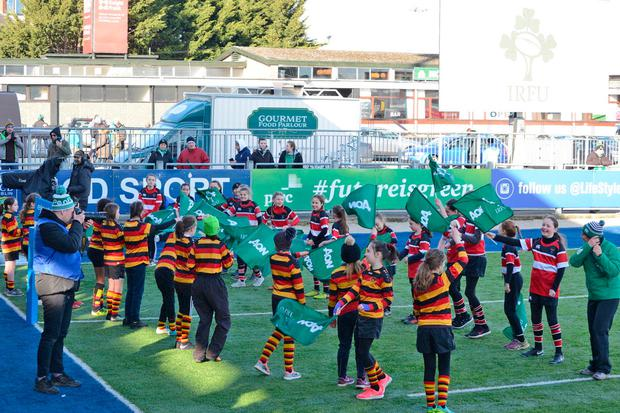 Wicklow and Arklow's U-12s at Donnybrook during the Women's Six Nations