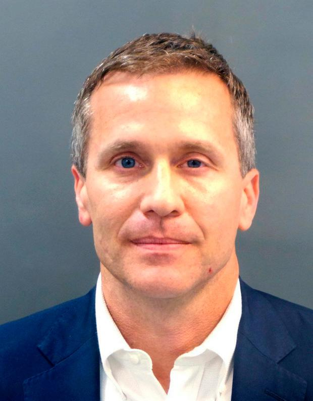 A booking photo provided by the St. Louis Metropolitan Police Department shows Missouri Gov. Eric Greitens on Thursday, Feb. 22, 2018. (St. Louis Metropolitan Police Department/St. Louis Post-Dispatch via AP)