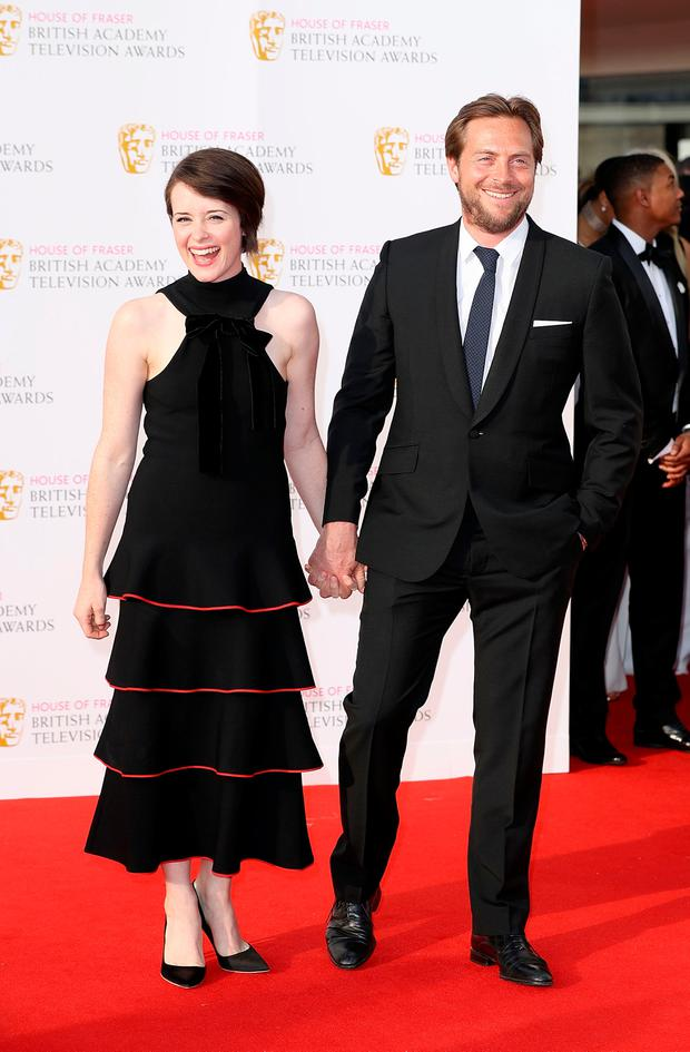 Stephen Campbell Moore and Claire Foy arrive for the House Of Fraser British Academy Television Awards 2016 at the Royal Festival Hall on May 8, 2016 in London, England. (Photo by Mike Marsland/Mike Marsland/WireImage)
