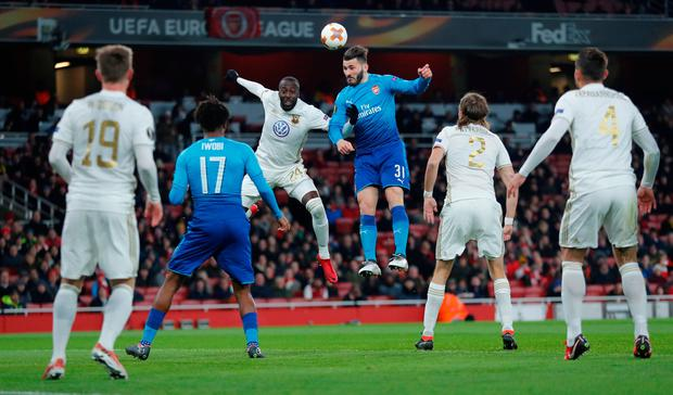 Arsenal's Sead Kolasinac in action with Ostersunds FK's Ronald Mukiibi REUTERS/Eddie Keogh