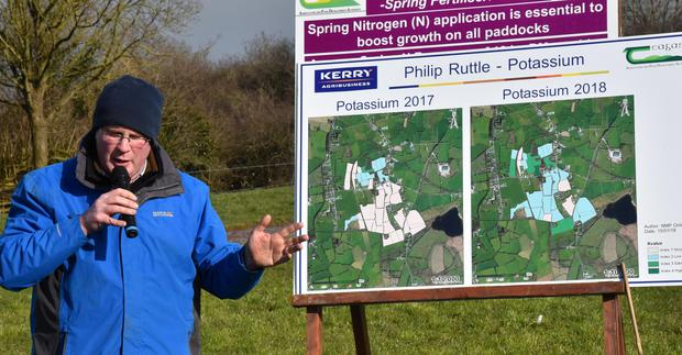 Teagasc Specialist, Grass 10 Manager, John Maher, explaining the colour coded mapping for farm fertility.