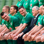 23 February 2018; Ireland players Peter O'Mahony, left, and Jonathan Sexton with IRFU President Phil Orr during the taking of their squad photo prior to their captain's run at the Aviva Stadium in Dublin. Photo by Brendan Moran/Sportsfile