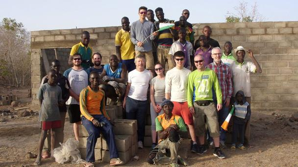 The group of Irish volunteers who travelled to Burkina Faso to build a milking parlour for the Complexe Agricole Temewe farm school in the New Year.