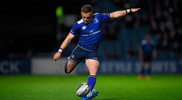 15 April 2016; Ian Madigan, Leinster, kicks a conversion. Guinness PRO12, Round 20, Leinster v Edinburgh. RDS Arena, Ballsbridge, Dublin. Picture credit: Stephen McCarthy / SPORTSFILE