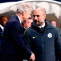 Arsenal manager Arsene Wenger (left) and Manchester City manager Pep Guardiola. Photo: PA Wire