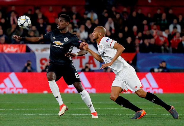 Spain: Pogba in action against Sevilla. Photo: Reuters