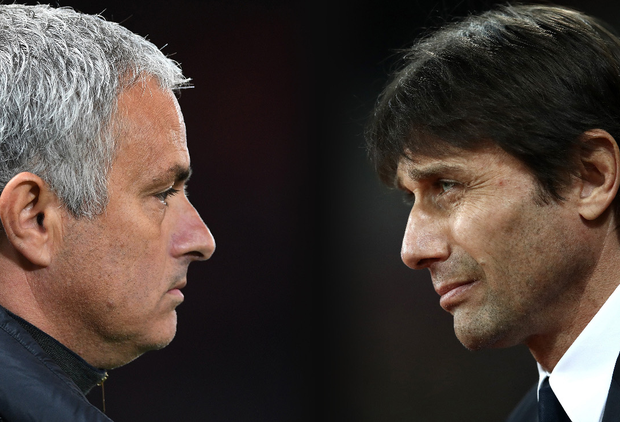Mourinho and Conte. Photo: Getty Images