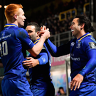 23 February 2018; James Lowe of Leinster celebrates with team-mate Ciarán Frawley and Nick McCarthy, left, after scoring their side's eighth try during the Guinness PRO14 Round 16 match between Leinster and Southern Kings at the RDS Arena in Dublin. Photo by Brendan Moran/Sportsfile