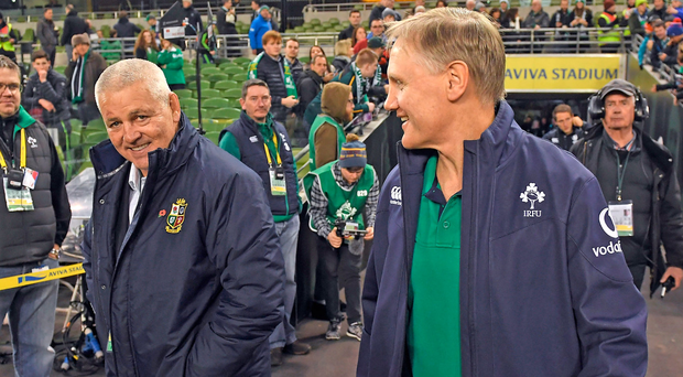 Warren Gatland and Joe Schmidt at the Aviva Stadium in 2016. Photo: Sportsfile