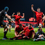 23 February 2018; James Cronin of Munster is congratulated by team-mate Billy Holland after scoring his side's second try during the Guinness PRO14 Round 16 match between Munster and Glasgow Warriors at Irish Independent Park in Cork. Photo by Diarmuid Greene/Sportsfile