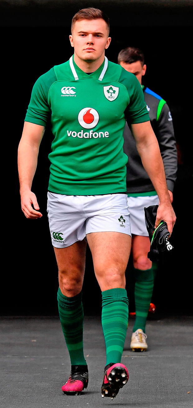 Jacob Stockdale arrives for the Ireland Rugby captain's run at the Aviva Stadium in Dublin. Photo: Sportsfile