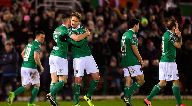 23 February 2018; Gearóid Morrissey of Cork City celebrates with team mate Kieran Sadlier after scoring his side's first goal of the game during the SSE Airtricity League Premier Division match between Cork City and Waterford at Turner's Cross in Cork. Photo by Eóin Noonan/Sportsfile