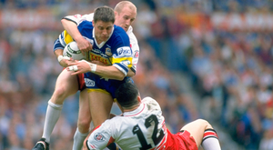 Shaun Edwards tackles Alan Tait of Leeds along with his Wigan team-mate Andy Farrell (No 12) back in 1995. Photo: Getty Images
