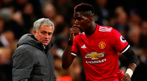 Manchester United boss Jose Mourinho and midfielder Paul Pogba Photo: Getty