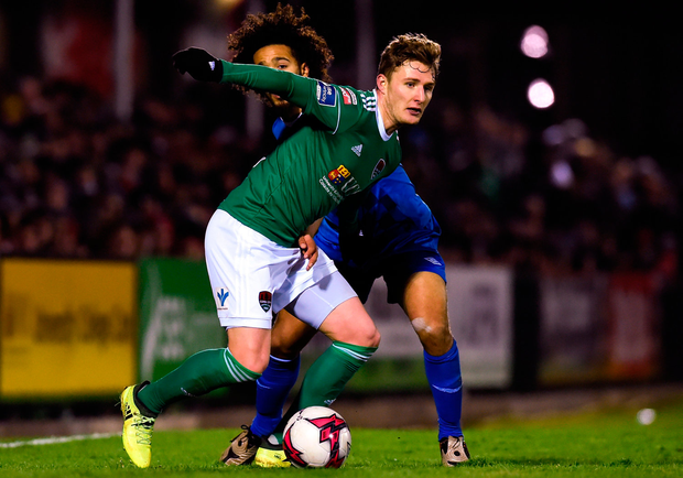 Kieran Sadlier of Cork City in action against Bastien Hery of Waterford Photo: Tom Beary/Sportsfile