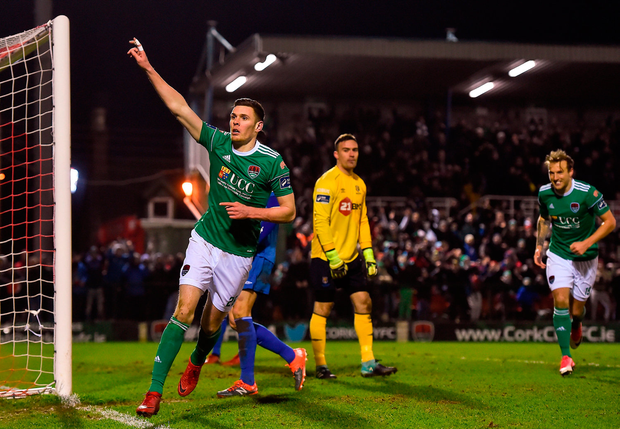 Garry Buckley celebrates after scoring Cork City's second goal Photo: Eóin Noonan/Sportsfile