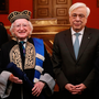 President Michael D Higgins with Greek President Prokopis Pavlopoulos (right) at the University of Athens where he was presented with an honorary diploma. Photo: Maxwells