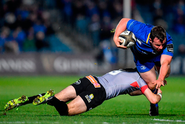 Bryan Byrne of Leinster is tackled by Rowan Gouws of Southern Kings Photo: Brendan Moran/Sportsfile