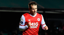 Christopher Fagan of St Patrick's Athletic celebrates after scoring his side's second goal Photo: Harry Murphy/Sportsfile