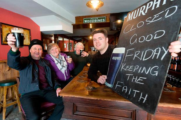 Publicans from Newmarket Co Cork who will remain closed as usual on Good Friday. From Left John O'Connell, High Street Bar, Julia McAuliffe, Scullys Pub, Michael Scanlan and John Scanlan, Scanlan's Bar, Newmarket. Photograph by Eamon Ward