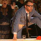 Denise Van Outen reacts as Jason Byrne presses the golden buzzer with his foot. Photo: TV3