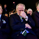 Ireland 2023 bid ambassador Brian ODriscoll, left, IRFU President Philip Orr, centre, and IRFU chief executive Philip Browne react when winner was revealed
