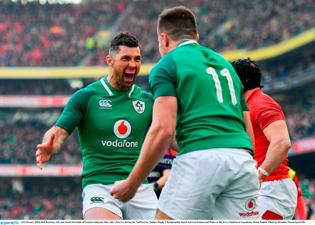 Rob Kearney, left, and Jacob Stockdale of Ireland celebrates their side's first try