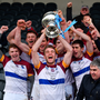 24 February 2018; UL captain John McGrath lifts the cup after victory over DCU Dochas Eireann in the Electric Ireland HE GAA Fitzgibbon Cup Final match between DCU Dochas Eireann and University of Limerick at Mallow GAA Grounds in Mallow, Co Cork. Photo by Diarmuid Greene/Sportsfile