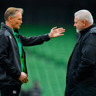 24 February 2018; Ireland head coach Joe Schmidt, left, and Wales head coach Warren Gatland prior to the NatWest Six Nations Rugby Championship match between Ireland and Wales at the Aviva Stadium in Dublin. Photo by Brendan Moran/Sportsfile